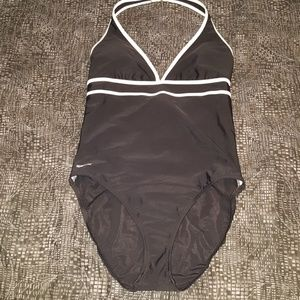 Speedo halter high back swimsuit